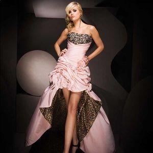 Tony Bowls Pink & Leopard High-Laos Dress w/ Train